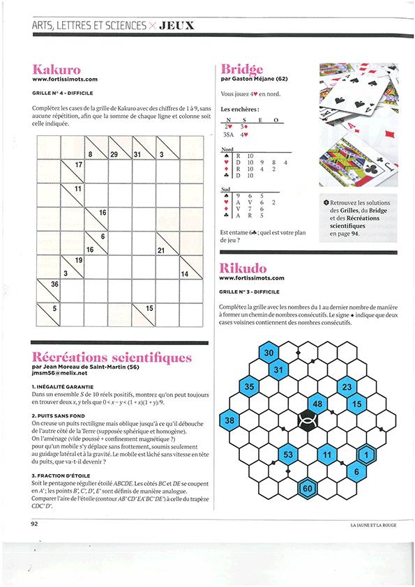 Jeux de chiffres dans La Jaune et la Rouge, magazine des étudiants de Polytechnique