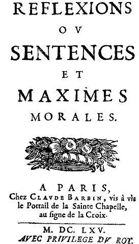 Première page des Maximes de La Rochefoucauld