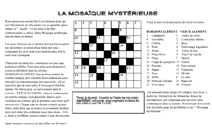 La mosaïque mystérieuse, premiers mots croisés français (1924)