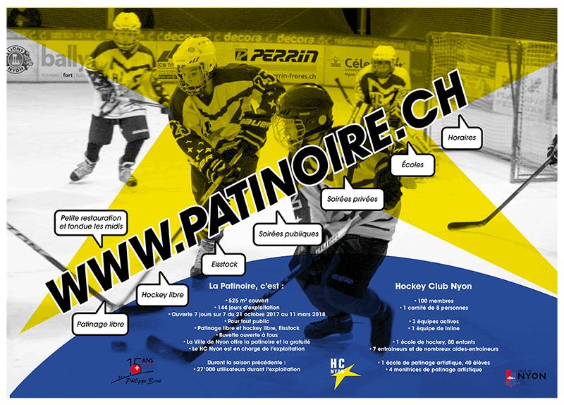 Set de table ludique pour la patinoire de Nyon (Suisse) : recto